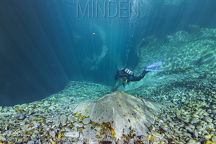 Underwater landscape in Verzasca River, Ticino, Switzerland, September