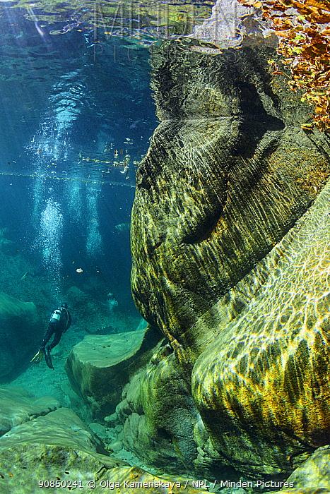 Underwater landscape in Verzasca River, Ticino, Switzerland, September