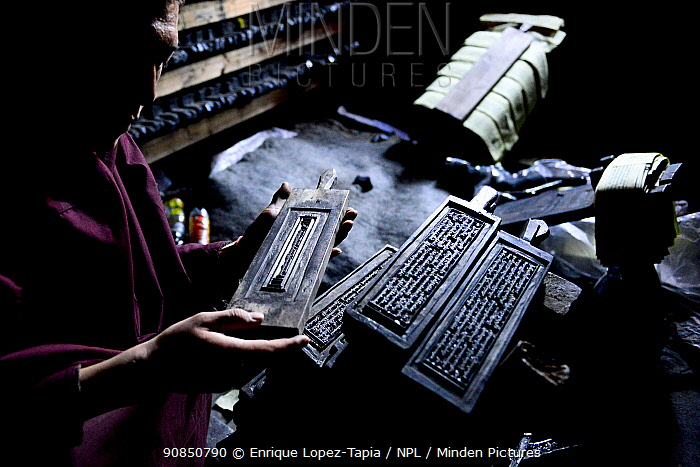Monk with wooden plates used to print Buddhist prayers and texts. Palpung Monastery, Kham, Dege County, Garze Tibetan Autonomous Prefecture, Sichuan, China. 2016.