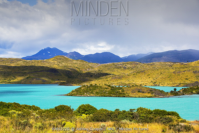 Lake Pehoe and mountains. Lake turquoise coloured due to glacial rock flour. Torres del Paine National Park, Patagonia, Chile. January 2020.