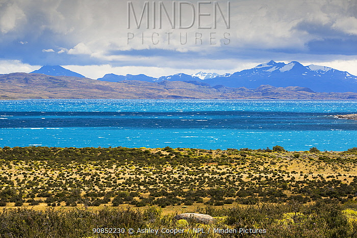 Lago Sarmiento, mountains in background. Torres del Paine National Park, Patagonia, Chile. January 2020.