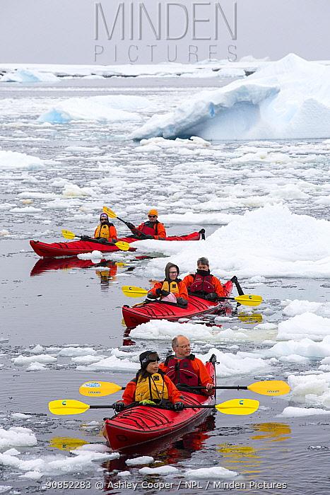 Tourists from expedition cruise ship sea kayaking amongst sea ice and icebergs. Off Vernadsky Station, Galindez Island, Antarctica. January 2020.