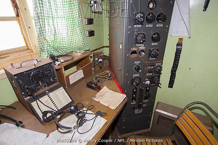 Radio room in Station W, a former British scientific research station evacuated in 1959. Detaille Island, Graham Land, Antarctica. 2020.