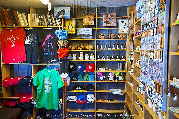 Gift shop selling souvenirs at Vernadsky Station Ukrainian research base. Galindez Island, Argentine Islands, Antarctica. December 2019.