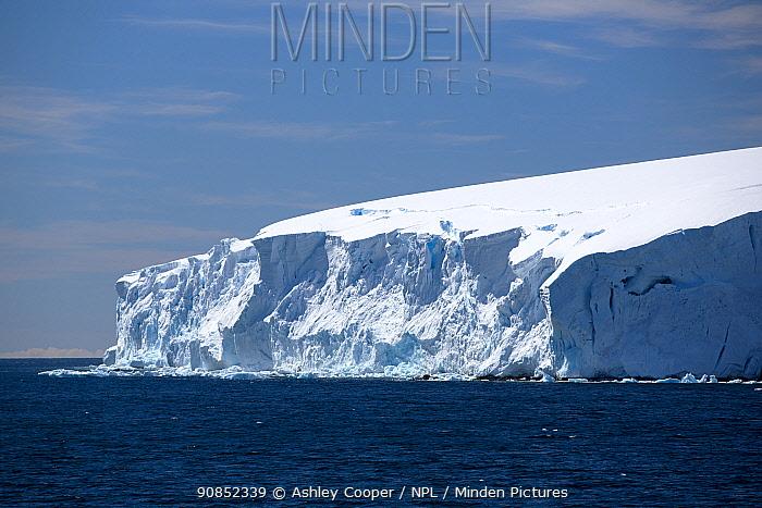 Glacier with ice shelf in Southern Ocean. Orne harbour, Danco Coast, Graham Land, Antarctica. December 2019.