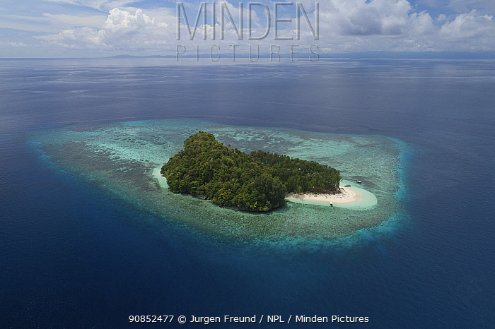 Mios Kon Island surrounded by coral reef. North Raja Ampat Islands, West Papua, Indonesia. 2018.