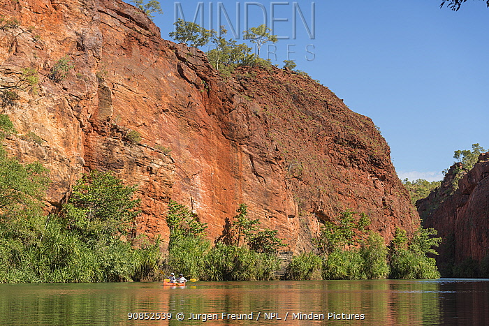 People canoeing along Lawn Hill Creek, dwarfed by sandstone rock face of Lawn Hill Gorge. Boodjamulla National Park, Queensland, Australia. 2016.