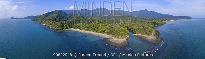 Daintree River mouth and coastline with forested mountains inland, aerial view from Pacific Ocean. Wet Tropics of Queensland, Far North Queensland, Australia. 2017.