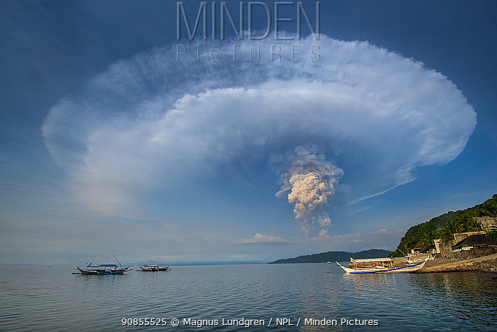 Eruption of Taal Volcano viewed from Anilao in Batangas, The Philippines, 12 January 2020. The main crater that threw ashes across Central Luzon and Manila regions.