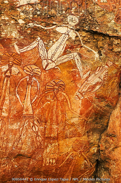 Aboriginal rock art depicting people and fish. Nourlangie, Kakadu National Park, Northern Territory, Australia.