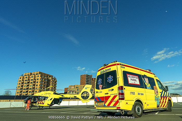MICU team from the Radboud university transferring a patient from the Jeroen Bosch Ziekenhuis ICU department to another ICU with a helicopter Jeroen Bosch Ziekenhuis, Den Bosch, The Netherlands April 2020. EDITORIAL USE ONLY.