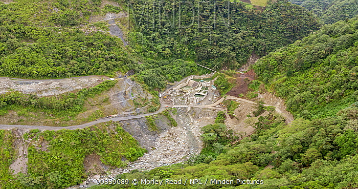Rio Verde Chico Hydroelectric Project water intake, in rainforest. Rebuilt after extreme flooding of river due to abnormally heavy rainfall. Tungurahua province, Ecuador. December 2019.