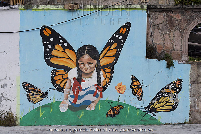 Mural of girl with Monarch butterfly (Danaus plexippus) wings in Agangeo town, near to Monarch butterfly reserve, Mexico.