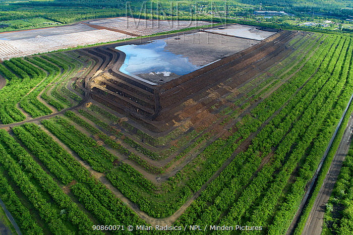 Aerial view of coal ash pyramid in East-Central Europe. After coal is burned in power plants, the waste ash is stacked layer-by-layer and compacted into large pyramids, which may eventually be covered over with solar panels, trees or even grape plantations. The pyramids are used as landfill to prevent the release of ash into the atmosphere, but they also contaminate the environment with toxic pollutants harmful to human health.