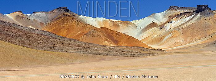 Stark mountain landscape in the high altiplano of Eduardo Avaroa Andean Fauna National Reserve, Bolivia. March 2014