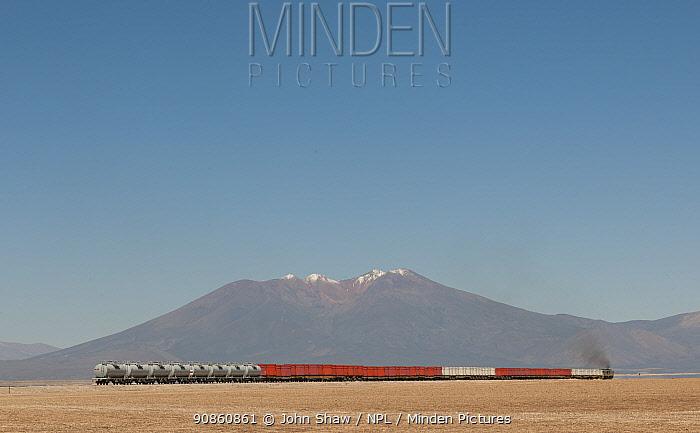 Train crossing the Atacama desert, near Rio Grande, Bolivia. March.