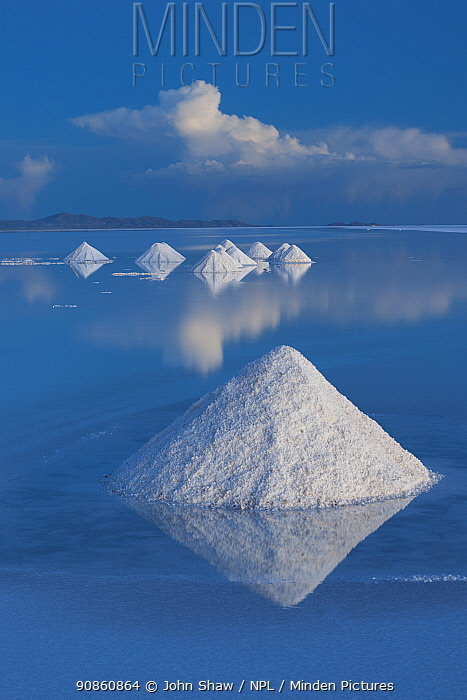 Salt cones on the Salar de Uyuni, Bolivia. The Salar is the world's largest salt flat, at over 10500 square kilometers. Salt is shoveled into these cones, to be collected later.