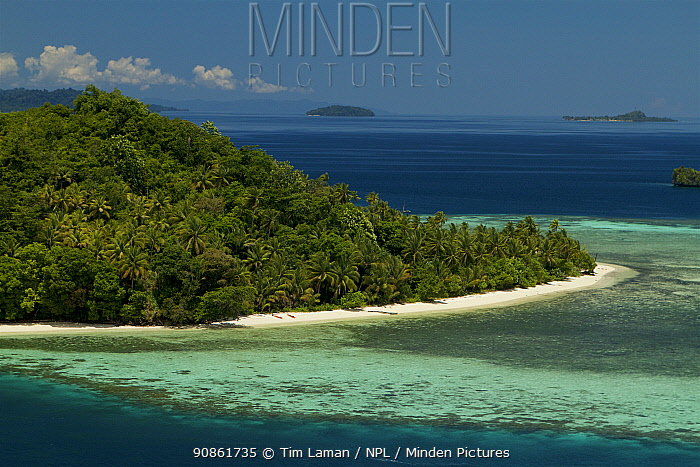 Island and village of Friwen, just off Gam Island, West Papua. Indonesia.