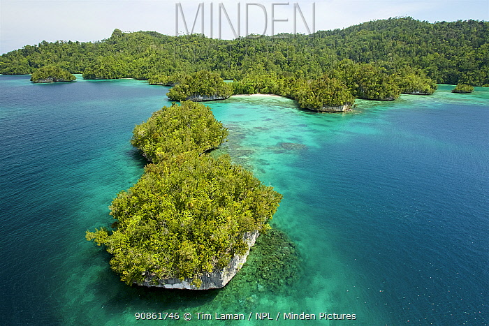Aerial view of coast of Gam Island, Raja Ampat Islands, West Papua, Indonesia.