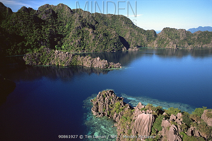 Aerial view of west coast of Coron Island and adjacent islets, Palawan, Philippines, October 2001