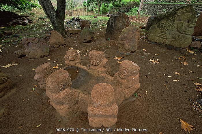Polynesian stone carvings in a small village on Ua Huka Island, Marquesas Islands, French Polynesia.