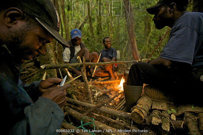 Villagers from Syoubri Village in the Arfak Mountains around a camp fire at camp site at 2000 m, Indonesian New Guinea 2009