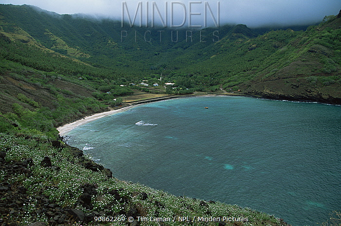 Small bay and village, Ua Huka Island, Marquesas Islands, French Polynesia.