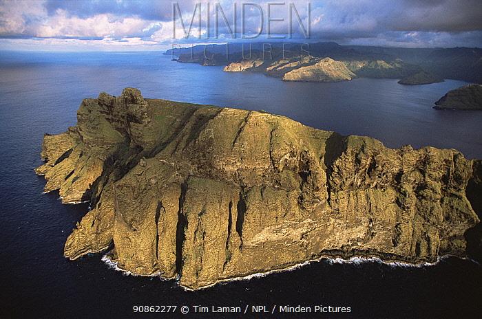 Aerial view of Cape Tikapo and the southern coast of Nuku Hiva Island, Marquesas Islands, French Polynesia