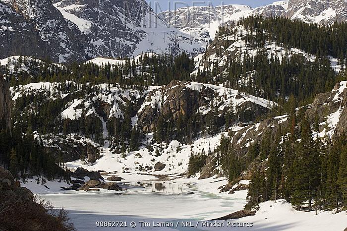 View of Rimrock Lake, Beartooth Mountains, Montana, USA May 2008