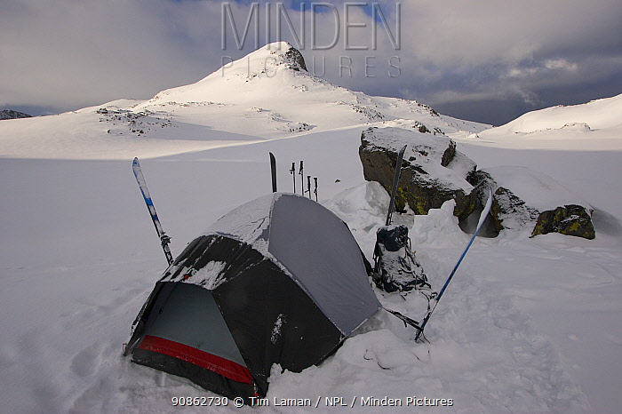 Skier camping near Sky Top Lakes, on the approach to Granite Peak, Beartooth Mountains, Montana, USA. May 2008