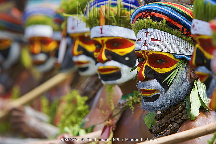 Villagers in traditional costume at Goroka Cultural Show in the Eastern Highlands Province, Papua New Guinea. September 2004