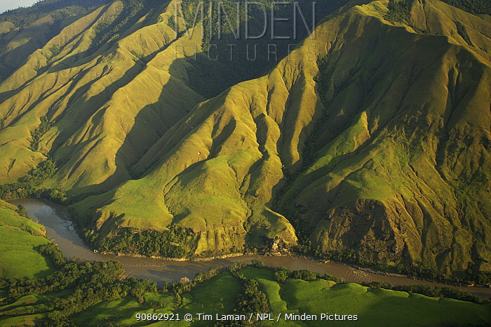 Aerial view of anthropogenic grasslands of the upper Yuat River valley, known as the Jimi Valley, Western Highlands Province, Papua New Guinea, August 2005