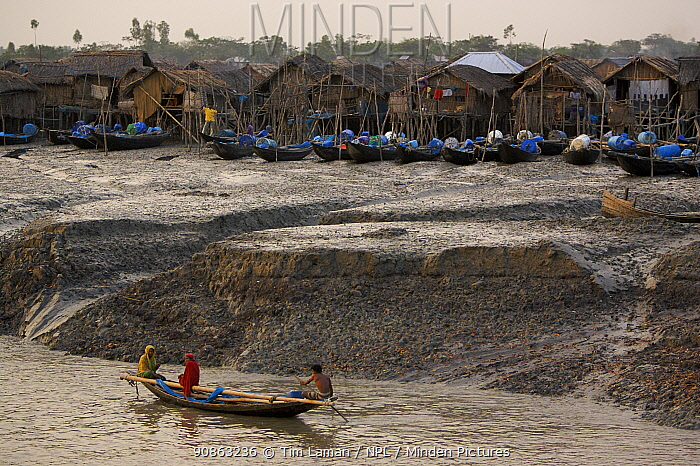 Nolian village with Shrimp fry fishing boats pulled up on the mudflats of the Sibsa River at low tide, Sundarbans, Khulna Province, Bangladesh, March 2006