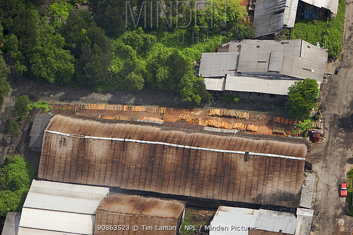 Aerial view of charcoal factory, using wood from the Matang mangrove forest, Taiping vicinity, Perak, Malaysia. May 2006