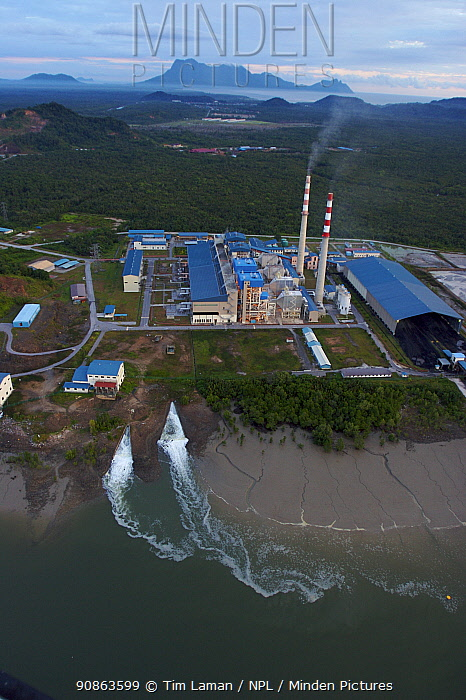 Aerial view of power plant just outside Bako National Park on the edge of mangrove forest, Kuching vicinity, Sarawak, Borneo, Malaysia, June 2006