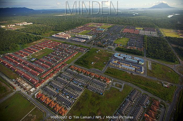 Aerial view of housing development outside Kuching, Sarawak, Borneo, Malaysia, June 2006