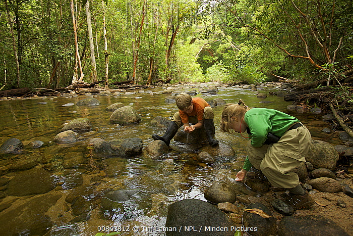 Two young children (brother and sister-model released) collecting water to drink from a river in tropical rainforest, Borneo. July 2007