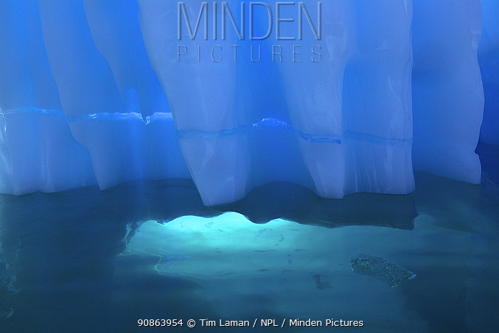 Iceberg detail with light coming through opening underwater, Antarctica, February