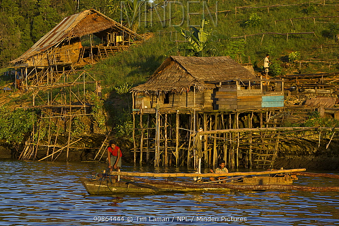 Semi-permanent fishermans camp at Tanjung Besi, Gam Island. These outsiders from Buton Island, Sulawesi, come here for months at a stretch to fish at night for small fish. Men prepare to take their boats out for a night of fishing, Raja Ampat Islands, Indonesia, May 2007
