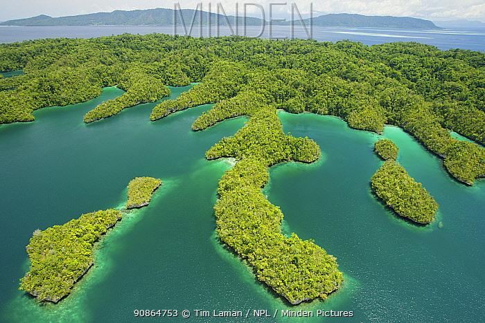 Islands and peninsulas of Gam Island projecting into Gam Bay. Raja Ampat Islands, West Papua, Indonesia. October 2 010
