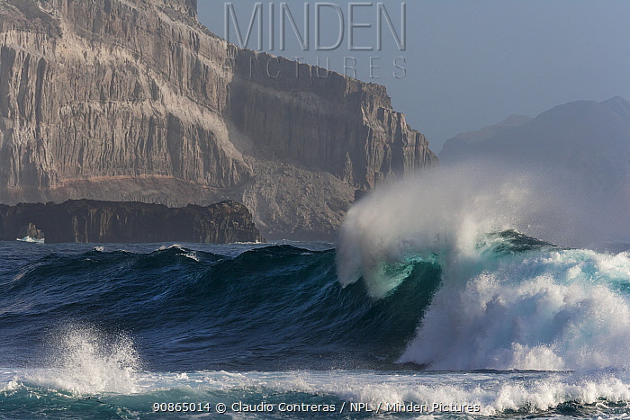 Cliff wall and wave, Guadalupe Island Biosphere Reserve, off the coast of Baja California, Mexico, April