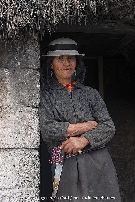Indigenous woman, Pulingue San Pablo community, Chimborazo Province, Andes, Ecuador. July 2016.