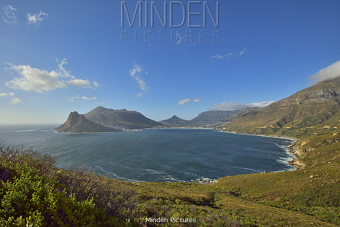Hout Bay on the west side of the Cape peninsula, Western Cape, South Africa. Atlantic Ocean.
