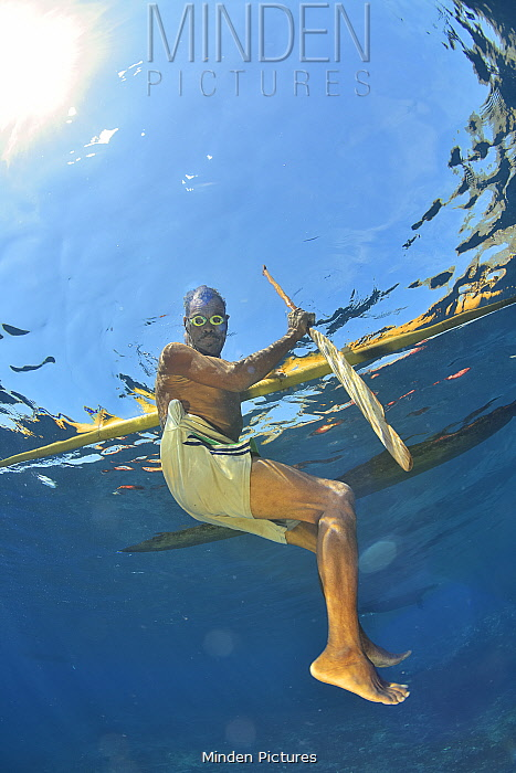 Local fisherman swimming near his outrigger canoe, Indonesia, Sea of Flores.