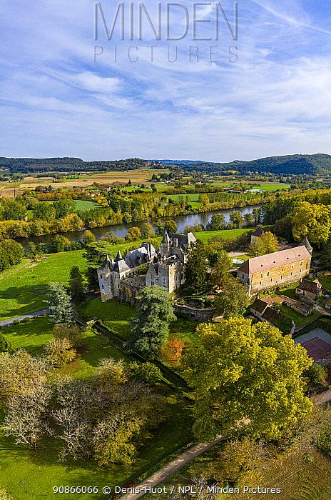 Fayrac castle in aerial view, Castelnaud-la-Chapelle, Dordogne, France, October 2020.