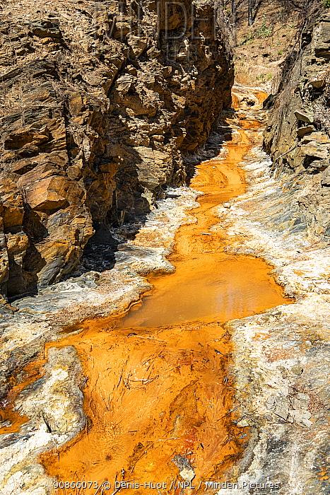 The Rio Tinto, north of the Minas de Rio Tinto, Huelva, Andalucia, Spain, June.
