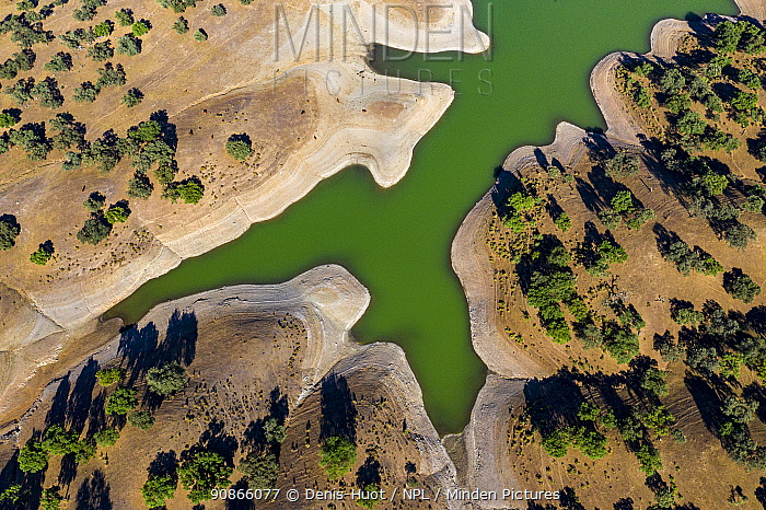 Aerial view of Huesna Reservoir, , around El Pedroso, Seville, Andalucia, Spain, May 2019.