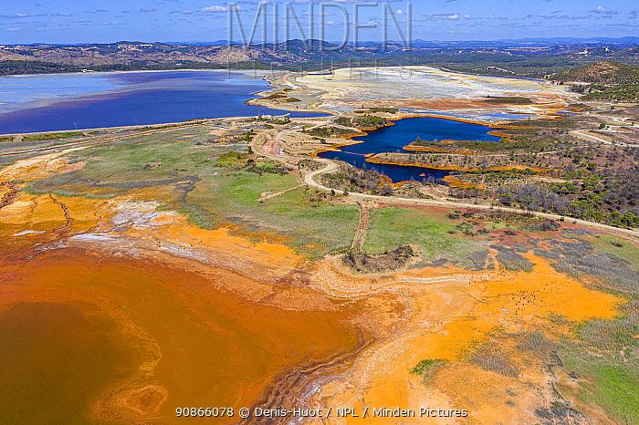 Aerial view of Rio Tinto and Gossan reservoir, province of Huelva, Andalucia, Spain. June 2019.