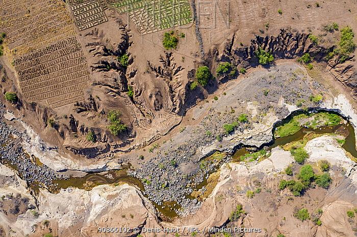 Aerial view of river near the Lake Magadi, Rift Valley, Kenya, September 2019.