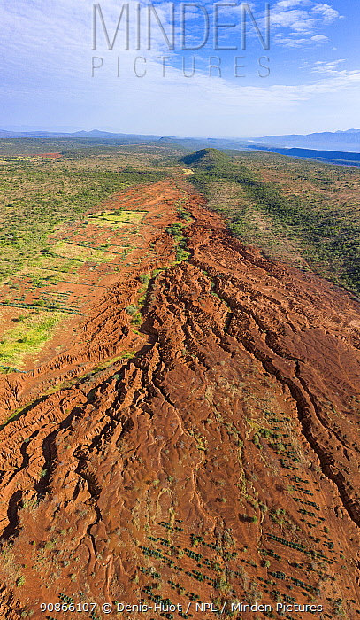 Aerial view of soil erosion, around lake Bogoria, Kenya. September 2019.